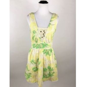 Free People Lemon Yellow Green Floral Lace Dress